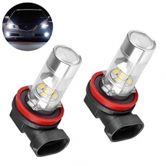 LED H9 Fog Driving Light AC/DC 10-30V Daylight 6000k Xenon HID White Direct Replace Bulbs for Car Auto Fog Lights or Daytime Running Light (Pack of 2)